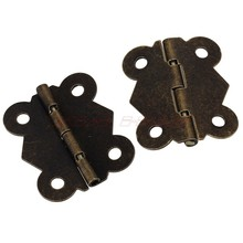 Mini 20pcs Green bronze Butt Hinge Butterfly Style Cabinet Drawer Butt Hinge Butterfly Hinges Jewelry boxes Cabinet Hinge(China)