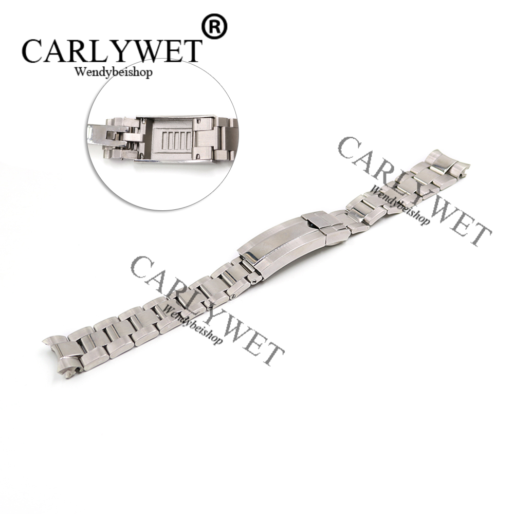 CARLYWET 20mm Silver Stainless Steel Solid Curved End Screw Links New Style Glide Lock Clasp Steel Watch Band Bracelet Strap<br>