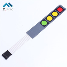1x4 Matrix Array Membrane Switch Keypad 4 Key Colorful Keyboard 1*4 Keys Red Yellow Green Display Switch Control Panel For DIY