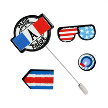 4 pcs/set United States French Flag Glasses shape Brooch Collar Pins/ Tie Pins/ Epaulet/ Armband Brooch Accessories Wholesale