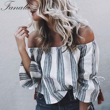 FANALA Women 80`S Retro Striped Print Slash Neck Flare Sleeve Tassel Off Shoulder T Shirt Cropped Top Sexy Fashion Blusas 2017(China)