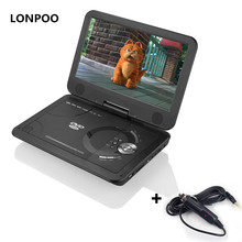 LONPOO Portable DVD Player 10.1 Swivel DVD Player RCA Car Charger Portable TV Portatil USB DIVX Portail DVD Player with Battery