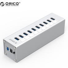 ORICO A3H10 USB 3.0 HUB High Quality With Power Adapter Aluminum 10 Port USB 3.0 HUB - Silver(China)