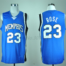 DERRICK ROSE Memphis Tigers White Blue College Basketball Jersey Embroidery Stitched Customize any size and name