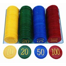 160Pcs Plastic Poker Chip with 4 Golden Large Numbers Printing for Gaming Tokens Plastic Coins - Yellow+Green+Red+Blue