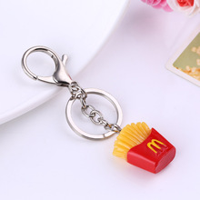 Hot Dog Hamburger French Fries Pendant Women Keychain Mobile Shell Accessories Kids Christmas Gift(China)