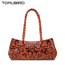 2017 New TOMUBIRD genuine leather women bag Creative fashion embossing leather art bag women leather handbags shoulder bag