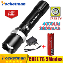 powerful led flashlight cree XML T6 torch Flashlight led lantern lamp Hiking Camping Waterproof Rechargeable flash light z77(China)