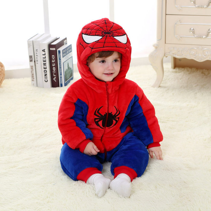 Cartoon Spiderman Winter Baby Clothes Superhero Cotton Flannel Jumpsuit 2017 High Quality Baby Romper 1 2 3 Years RL11-25<br>