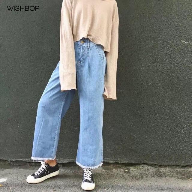 WISHBOP 2017 Summer New Fashion Blue Denim Wide Leg Cropped Jeans Frayed hem Loose pants MultipocketsÎäåæäà è àêñåññóàðû<br><br>