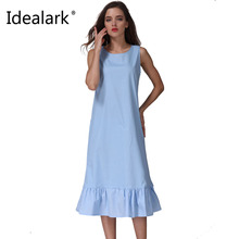 Idealark 2017 Cotton Fashion Women Long Tank Dress Ruffles Beach Summer Sleeveless Loose Casual Vestidos lady Sundress WC0600