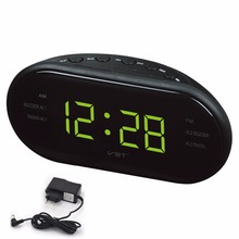 LED Digital radio alarm clock with blue red green LED English operation alarm clock luminous table clock Snooze alarm clock