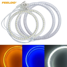 FEELDO 4Pcs/set Car 3528SMD Angel Eyes Light Halo Rings DRL For VOLKSWAGEN PASSAT Headlight White/Blue/Yellow #AM3877(China)