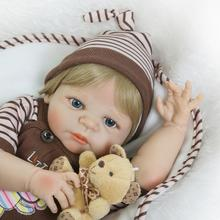 NPK Collection 56cm lovely chocolate stripes baby boy doll with Acrylic eyes full Silicone Reborn Dolls the child's bath toys(China)