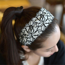 Fashion 2017 Sweet Romantic Style Women Elegant Lace Fabric Rose Pattern Embroidery Hairbands Headband Hair Accessories(China)