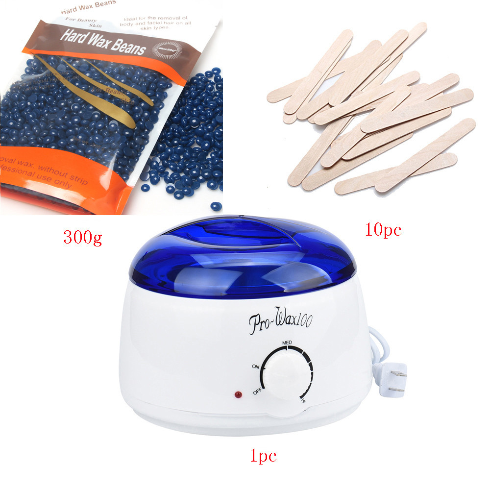 2017 US plug Hard wax Beans 300g 10pcs Wiping Sticks MINI SPA Hand Epilator Hot Wax Warmer Heater Pot Depilatory wax machine Set<br>