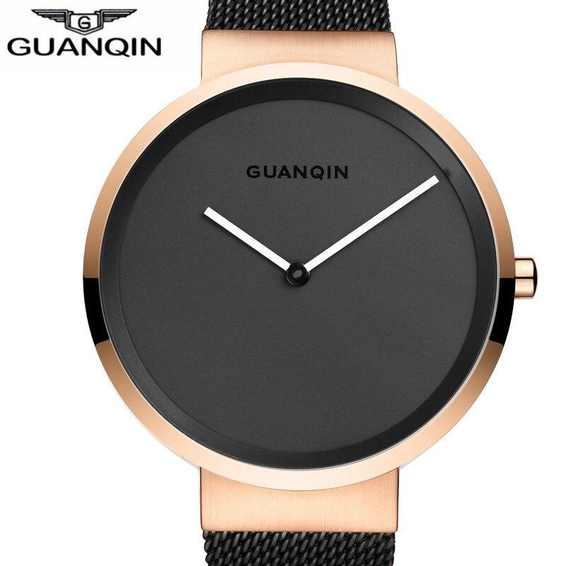 GUANQIN Luxury Brand Simple Design Mesh Band Quartz Watch Men Business Stainless Steel Waterproof Wristwatch relogio masculino<br>