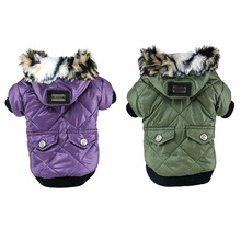 Newest Cute Solid Warm Coats Dog Clothing For Pet Faux Pockets Fur Trimmed Dog Puppy Hoodie Pets Jacket Costume
