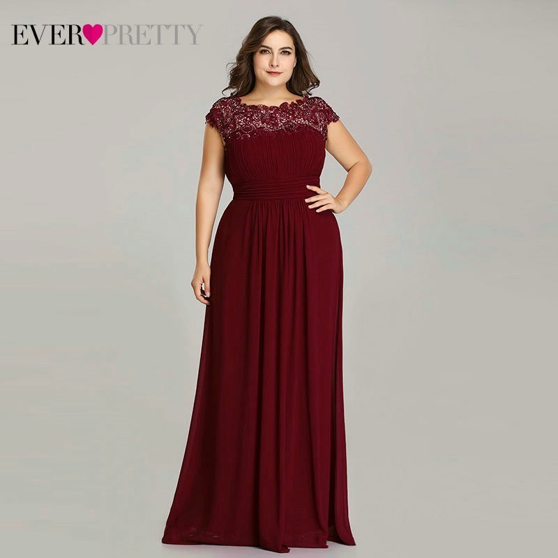 Long Evening Dresses Ever Pretty 2019 New Simple Dark Green Chiffon Plus Size O-Neck Appliques Lace A-Line Formal Party Dress(China)