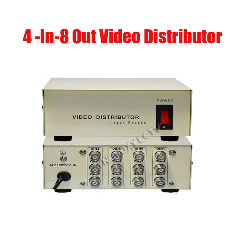 Free Shipping 4 In 8 Out Composite BNC Video Distributor For CCTV Security Camera DVR System<br>
