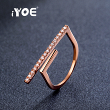 IYOE Top Quality Luxury Cubic Zircon Opening T Bar Ring Rose Gold Color Fashion Midi Knuckle Rings Women Punk Party Jewelry(China)