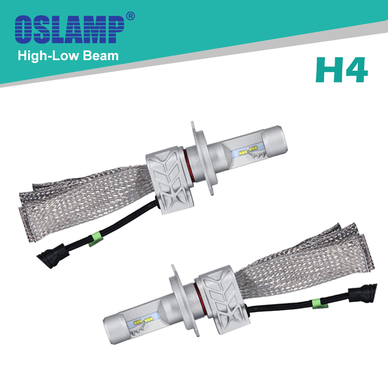 Oslamp Hi-Lo Beam H4 Headlight Bulbs for Car Fanless SUV Led Headlight Kits with Red Copper Belt Heat Sink 6500K CREE CSP Chips<br><br>Aliexpress