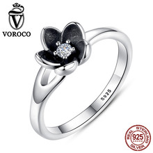 VOROCO 2017 New Collection Mystic Floral Flower Stackable Oxidized Silver Black Ring 925 Sterling Silver Jewelry P7154(China)