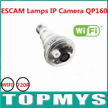 ESCAM Lamps shape IP camera wireless Wifi Camera 720P bulid-in Microphone H.264 Compression Format SD Card Slot QP160