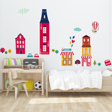 City Building Cartoon Dicor Decorations Wall Stickers for Kids Rooms DIY Removable Art Vinyl Mural QTB682 Loving Town(China)