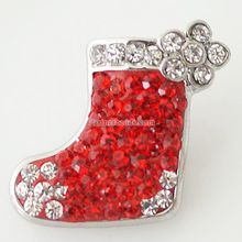Snap Charm Holiday Ginger Interchangeable Jewelry Ginger Snap Button Rhinestone Christmas Decoration DIY charms KB4371