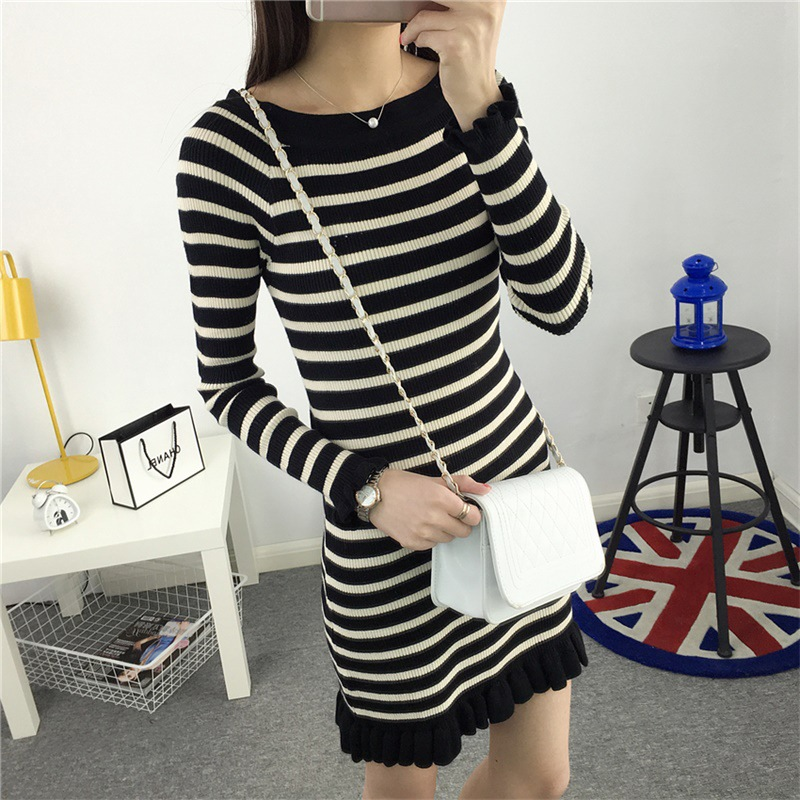 2017 spring new Korean stripe lace, bottoming, long base shirt, sweater, coat, wool dress, bottoming skirt