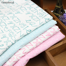 English letter Cotton Fabric Printed fat Quarter for sewing clothes bedding quilting patchwork crafts Free shipping(China)