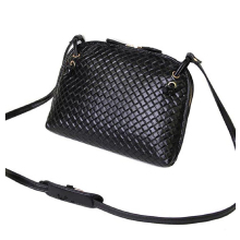 Fashion and New Women 1pc Fake Leather Hobo Bag Shoulder Satchel Handbag Weave Pattern Shell Crossbody Tote (Black)
