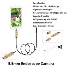 5.5mm Lens HD Video USB Endoscope Android phone Waterproof Phone PC Car Endoscope Inspection Visual Copper Pipe Video Borescope(China)