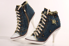 Fashion Denim Women High Heels Shoes Canvas Women Shoes High Heel Lace Up Women Pumps Rivets Spike Heel Valentine Shoes Woman(China)