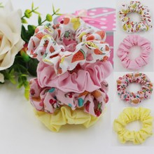 2016 New Style Headwear Hair Ribbons Ponytail Fruit Design Cotton Scrhnchie Girl Fabric Hair Bands  Hair Accessories