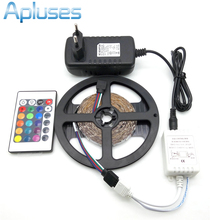 LED Strip Light 3528 RGB 5M 300 LED Non-Waterproof Flexible Strip Light Set + 24Keys Remote Controller + 12V 3A Power Adapter