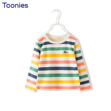 Long Sleeve T-shirt Autumn Girls Boys T-shirts Baby Casual Fashion Tops Cartoon Stripes Print T Shirts Unisex Loose Active Tees