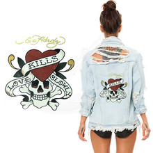 Red heart skull stickers 24.2*22.2cm iron on patch T-shirt Sweater thermal transfer paper Patch for clothing