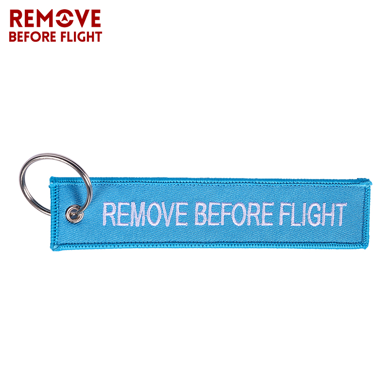 Remove Before Flight Key Chains Berloques Important Tag Sky Blue Embroidery Key Fobs Chains Jewelry Aviation Gifts Chaveir1