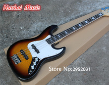 Hot Sale Custom 4-String Bass Guitar with Tobacco Sunburst Color,White Pickguard,Maple Neck,can be Customized