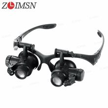 Black Glasses Eye 10 15 20X 25X Jewelry Watchbands Magnifier Glasses Lens 2 LED Lights Watch Kit Tool Relojes Hombre ZLIMSN TL01