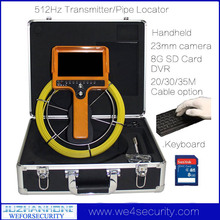 20m Pipe Drain Video Inspection Snake Camera System Kit With 512hz Sonde Pipe Locator Keyboard Color Monitor DVR Recording