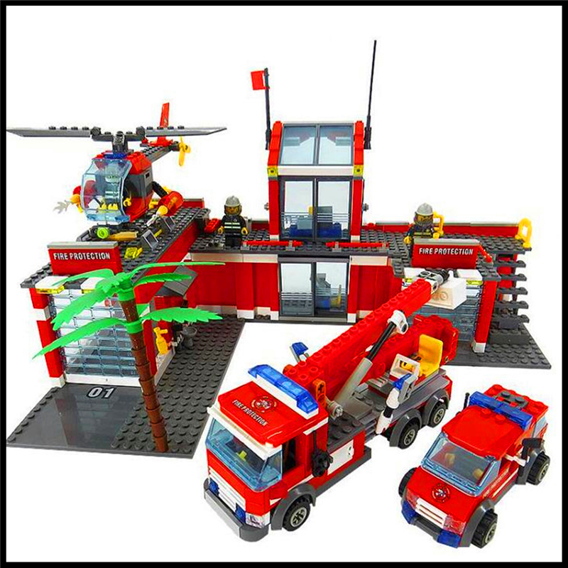 774Pcs Fire Station Fire Engine Helicopter Model Building Block Toys KAZI 8051 DIY Figure Gift For Children Compatible Legoe<br>