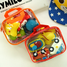 [Sozzy] 4PCS/lot Baby Bath Toys Vehicle Model Soft Rubber Cartoon Simulation Car Airplane Baby Bathing Water Spraying Kid Toys(China)