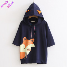 t shirt women Harajuku 2017 Louis Vitas Kawaii Fox Animal Printing Cotton Hooded t-shirt Short Sleeves Fox Ears Splicing Tees(China)