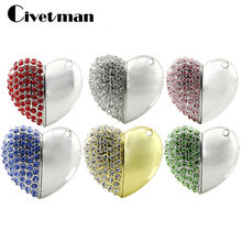 Metal Crystal USB STICK Real Capacity 4G 8GB 16GB 32GB 64GB Heart Pen Driver Gift USB Flash Disk Jewelry USB flash drive