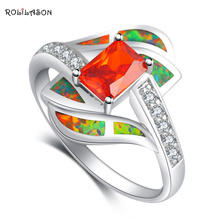 Rectangle Orange Zirconia design Orange fire Opal 925 Silver Rings fashion jewelry USA size #8 OR628 hot selling(China)