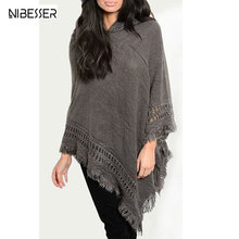 2017 Autumn Winter Warm Poncho Sweater Women Pullover Loose Knitted Sweater Female Hooded Women Oversized Sweater Poncho Shawls(China)