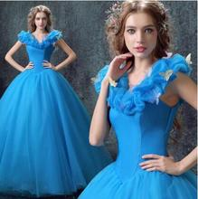 Custom Made 2017 New Design Adult Cinderella Costumes Women Halloween Party Dress Cosplay Costumes(China)